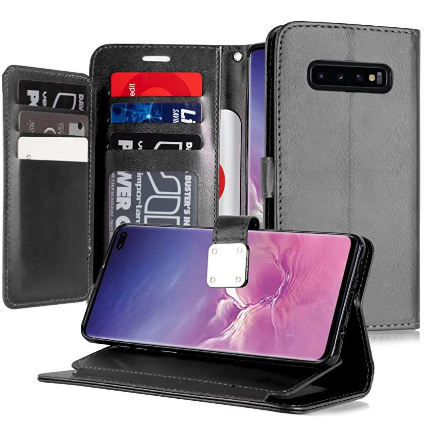 Customerfirst Cover for Samsung Galaxy S10 Plus (SM-G975) Premium PU Leather 6 Credit Card Slot Folio Wallet Pouch Case with Wrist Strap for Galaxy S10+ Plus [Free Emoji Bonus!] (Black)