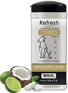 Wahl Dog/Pet Refresh Cleaning Wipes, 50 Wipes, Coconut Lime Verbena