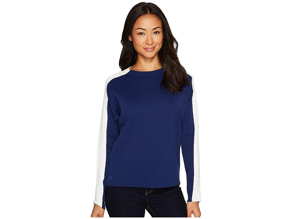 Lacoste Color Block Double Face Jacquard Cotton/Wool Sweater (Methylene/Flour) Women