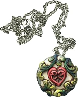 Rocky Beads 100% Handmade Locket Pendant Necklace for Women, Girls, Teens - Natural, Organic Look - Fashion Statement - Great Gift for Her, Wife, Girlfriend, Mom, Best Friend - Polymer Clay