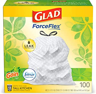 Glad OdorShield Tall Kitchen Drawstring Trash Bags, Gain Original with Febreze Freshness