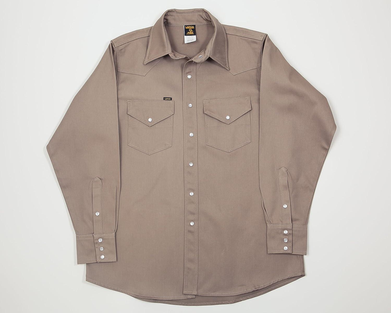 Lapco FR 850-XL-REG Mid-Weight Welder's Shirts, 100% Cotton, 8.5 oz, X-Large Long, Khaki (Not Fire Resistant)
