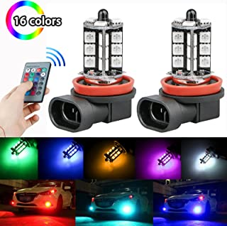 Linkstyle 2PCS H8/H11 RGB Multi-Color Changing Brightness Modes Adjustment LED Car Safe Driving Headlight Fog Light Lamp Bulbs with Remote Control