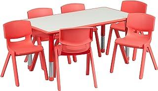 Flash Furniture 23.625''W x 47.25''L Rectangular Red...
