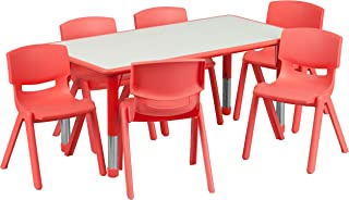 Flash Furniture 23.625''W x 47.25''L Rectangular Red Plastic Height Adjustable Activity Table Set with 6 Chairs