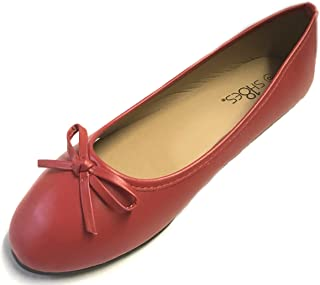 New Womens Ballerina Ballet Flats Shoes Leopard & Black (10, Red 8500)