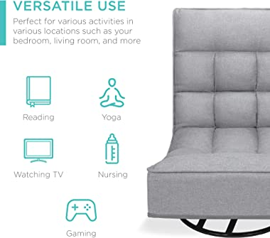 Best Choice Products Reclining Folding Floor Gaming Chair for Home, Office, Lounging, Reading w/ 360-Degree Swivel, 4 Adjusta