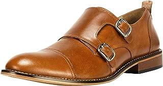 Liberty Men's Double Buckle Monk Strap Genuine Leather Cap-Toe Dress Shoes