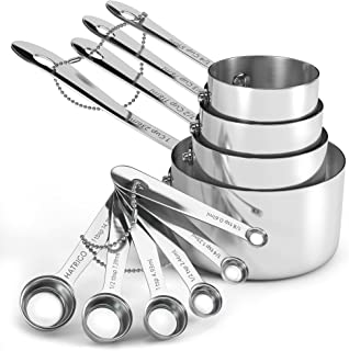 Heavyweight 10-pc Stainless Steel Measuring Cups and Spoons Set with Riveted Handles, Polished Stackable Measuring Cup and...