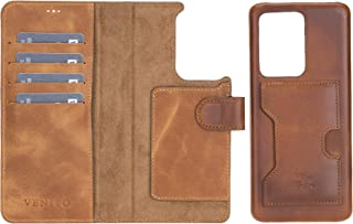 Venito Florence Leather Wallet Phone Case Compatible with Samsung Galaxy S21 Ultra - Extra Secure with RFID Blocking - Det...