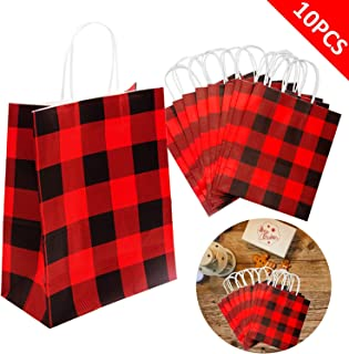 Iceyyyy 10Pieces Red and Black Buffalo Plaid Kraft Bags Paper Gift Bag with Handle for Christmas, Party, Wedding