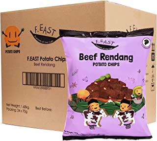 F.EAST Beef Rendang Potato Chips, Single Serve 70 Gram Bags (Pack of 24)