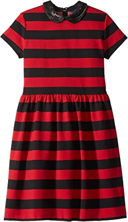 Striped Stretch Ponte Dress (Little Kids/Big Kids)
