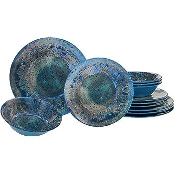Certified International Radiance Teal Melamine 12 pc Dinnerware Set