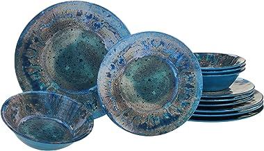 مجموعة أواني طعام من 12 قطعة من الميلامين راديانس باللون الأزرق المخضر المعتمدة