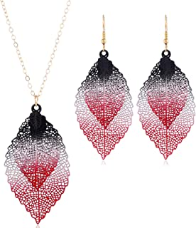 caiyao Colorful Hollow Out Double Layer Leaf Pendant Adjustable Necklace and Drop Dangle Earrings Set Delicate Filigree Un...