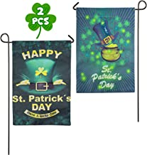 Ueerdand 2 Pack Happy St. Patrick's Day Garden Flag, Double Sided Clover House Flag, Shamrock Indoor Home Flag with Green Hat Pattern, Outdoor Three Leaves Polyester Decor Flag for Celebration