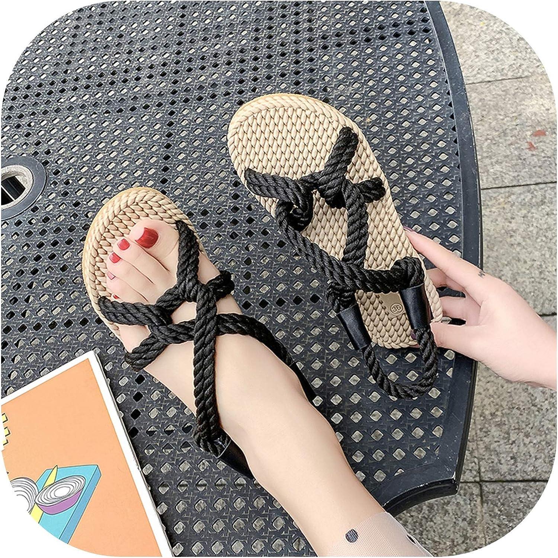 Women Sandals Summer Hemp Flat Sandals Bohemian Flip Flops Ladies Roman Casual Beach Slip-On,Black,7
