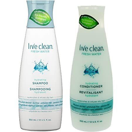 Live Clean Fresh Water Hydrating Shampoo and Conditioner Bundle With Rosemary Leaf Extract, Vitamin E and Lavender Extract, 12 fl. oz. Each
