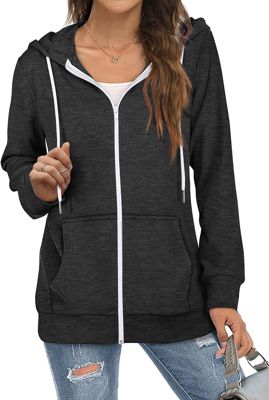Saloogoe Lightweight Zip Up Hoodies for Women Hooded Sweatshirts Long Sleeve Thin Jacket with Zipper