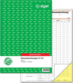 SIGEL SD006 Kassenabrechnungen A4, 2x40 Blatt, selbstdurchsc