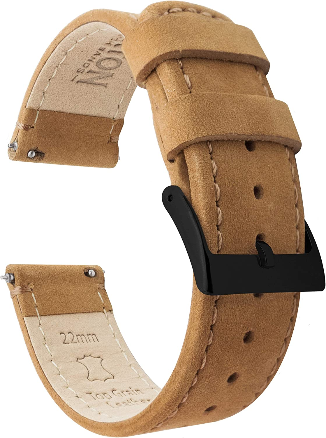 BARTON Watch Bands - quality Max 58% OFF assurance Top Grain Strap Release Bla Leather Quick