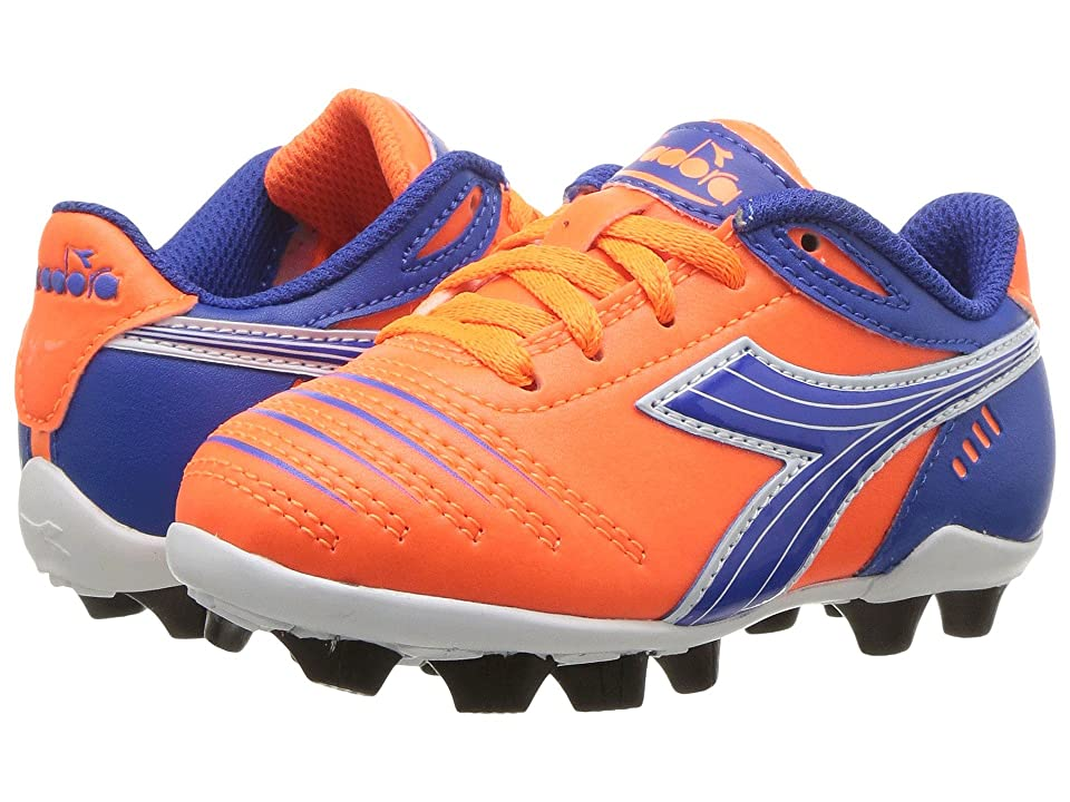 Diadora Kids Cattura MD JR Soccer (Toddler/Little Kid/Big Kid) (Orange/Blue) Kids Shoes