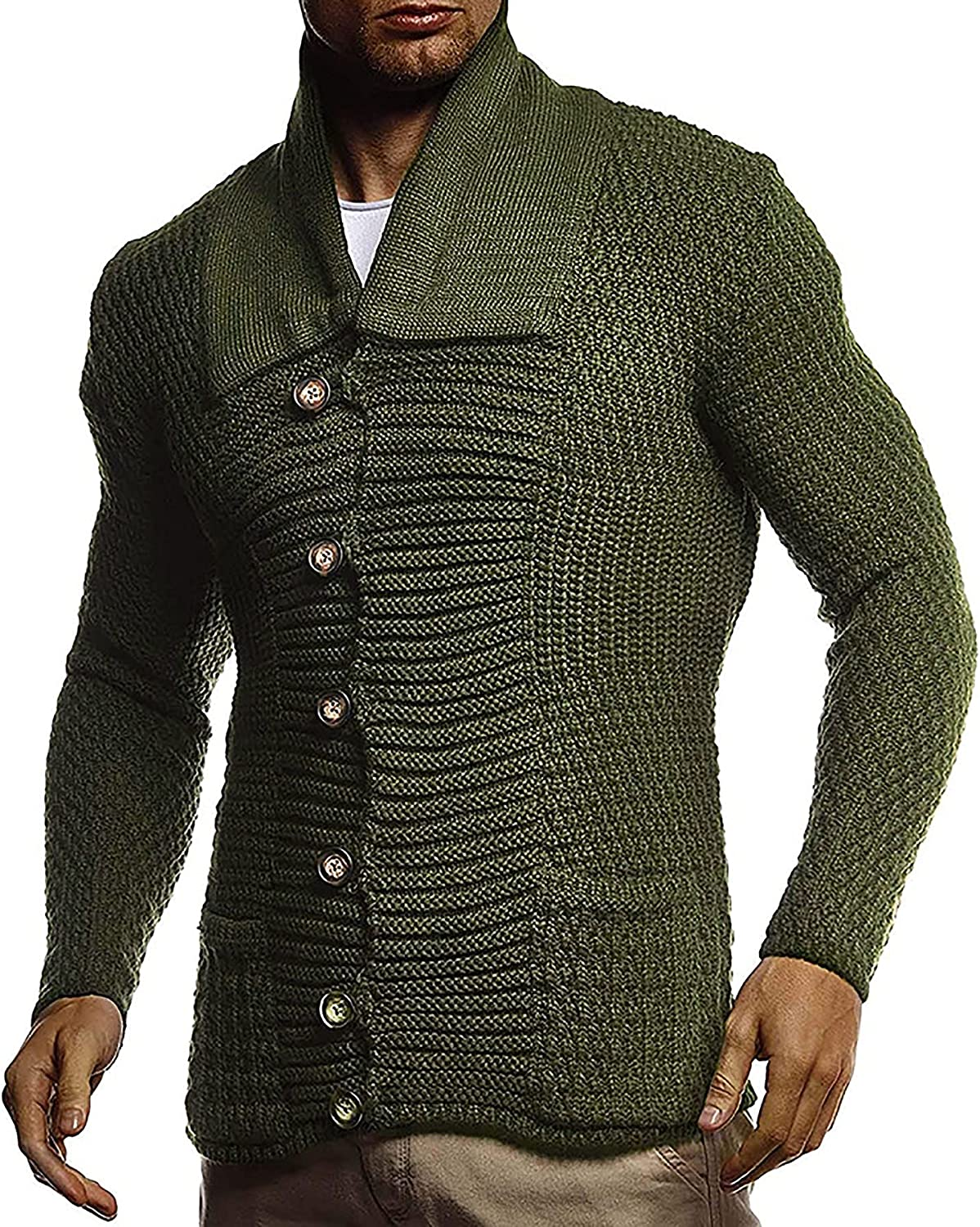 Men's Casual Long-Sleeve Lapel Cardigan Sweater Button Down Knitwear with Pockets Chunky Thermal