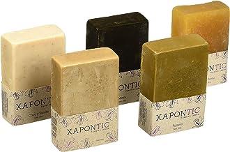 Xapontic - Set de 5 jabones artesanales de 80gr - Selección de aromas: Menta, miel y avena, coco y vainilla, romero y cacao.