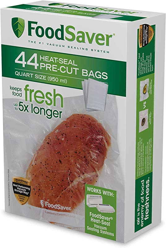 FoodSaver 1 Quart Precut Vacuum Seal Bags With BPA Free Multilayer Construction For Food Preservation 44 Count