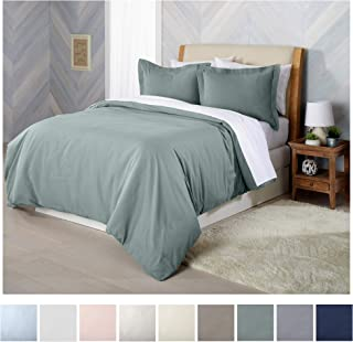 Extra Soft Flannel Duvet Cover with Button Closure. 100% Turkish Cotton 3-Piece Set with Pillow Shams. Nordic Collection (King, Thyme Green)