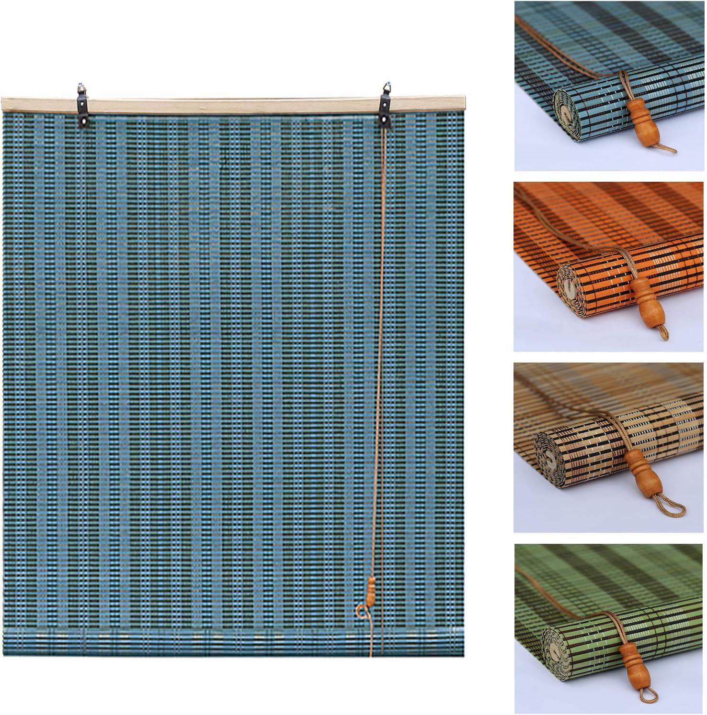 L-KCBTY Natural shipfree Window Roller New life Blind Bamboo - Blue Orange Shades