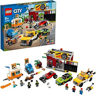 LEGO 60258 City Nitro Wheels Tuning Workshop Building Set with Tow Truck, Hot Rod, Camping Trailer and Motorbike