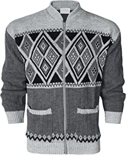 New Mens Classic Zip UP Cardigan Argyle Diamond Grandad Front Zip Fastening Ribbed Cuffs and Hem Aztec Two Front Hand Pock...