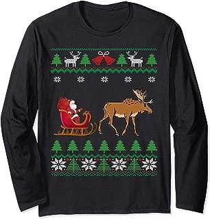 Moose Pulling Santa's Sleigh Winter Wildlife Ugly Christmas Long Sleeve T-Shirt