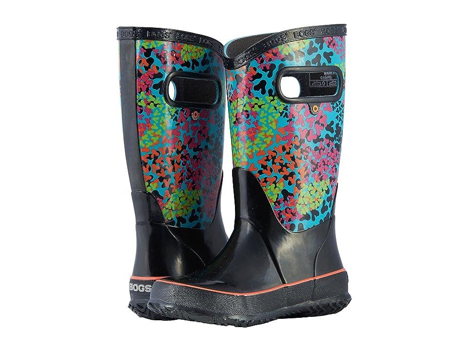 Bogs Kids Rain Boot Footprints (Toddler/Little Kid/Big Kid) (Black Multi) Girls Shoes