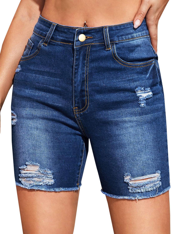 Floerns Women's Casual Denim Shorts Frayed Raw Hem Ripped Stretchy Jeans Shorts