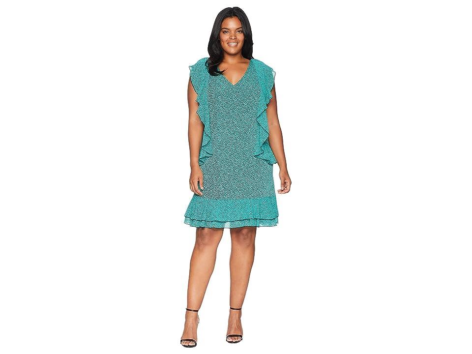 MICHAEL Michael Kors Plus Size Mini Leo Cascade Dress (Black/Aqua) Women