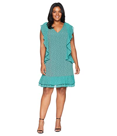 MICHAEL Michael Kors Plus Size Mini Leo Cascade Dress (Black/Aqua) Women