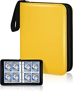 CLOVERCAT Waterproof 4 Pocket Trading Card Binder, Storage Book with 3 Rings, Expandable,400 Double Sided Pocket Album Com...