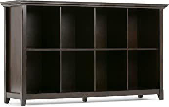 Simpli Home Amherst Solid Wood 57 inch wide Transitional 8 Cube Bookcase Storage Sofa Table in Dark Brown