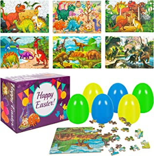 Acekid Easter Eggs Filled with Dinosaur Puzzle, 6pcs Wooden Jigsaw Puzzles for Kids, Easter Theme Party Favor, Easter Eggs...