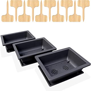 GENIELY 3 Pack of 20 cms (8-inch) Bonsai Training Pots with 3 Humidity Trays and Built-in Drainage Mesh - Heavy Duty Shatt...