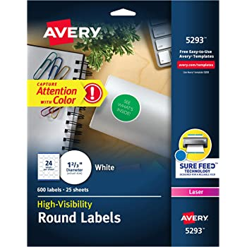 "Avery 5293 Round Labels, 1-2/3"" Diameter, White, Pack of 600 -- Make Custom Stickers"