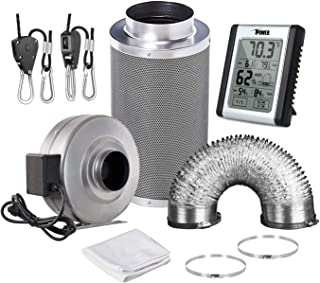 iPower GLFANXSETINLINE8D25RH 8 Inch 750 CFM Inline Fan Carbon Filter 25 Feet Ducting Combo with Humidity Monitor Grow Tent Ventilation, Grey
