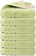 Jixiangdou Luxury Cotton Washcloths, Large Hotel Spa Bathroom Face Towel, 6 Pack (Green)