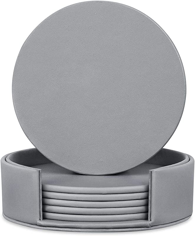 6 Pieces Grey Coasters Coasters For Drinks With A Holder Cup Mat Pad Protect Furniture From Coffee Or Tea Marks Grey Round