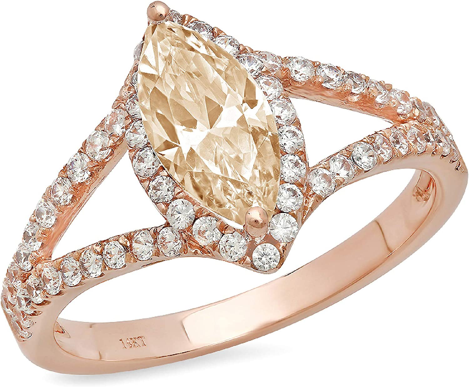 1.20 ct Marquise Cut Solitaire with Accent split shank Halo Designer Genuine Natural Morganite Gemstone Ideal Engagement Promise Statement Anniversary Bridal Wedding Ring 14k Rose Pink Gold