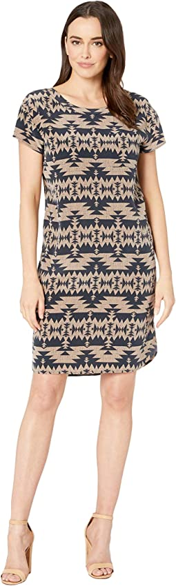 Navy/Taupe Print