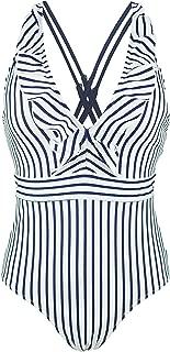 COCOSHIP Women's Chic One Piece Bather Crisscross Back Bikini Flounce Swimsuit Ruffled Pin Up Swimwear(FBA)